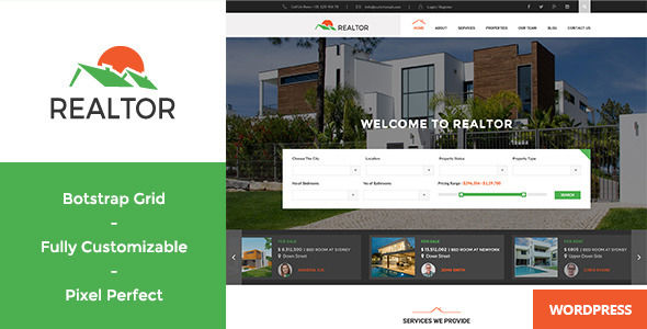 Realtor by WPmines (real estate and realtor WordPress theme)