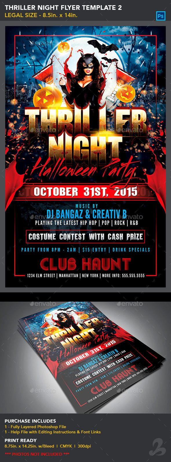 Thriller Night Halloween Flyer Template by CreativB (Halloween party flyer)