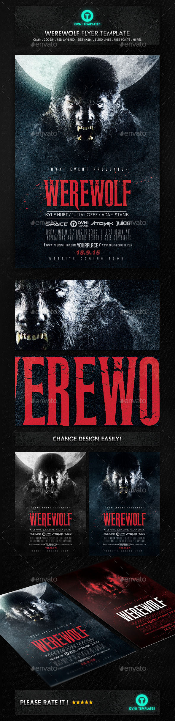 Werewolf Dark Horror Movie Flyer Poster Template by OVNI-TEMPLATES (Halloween party flyer)
