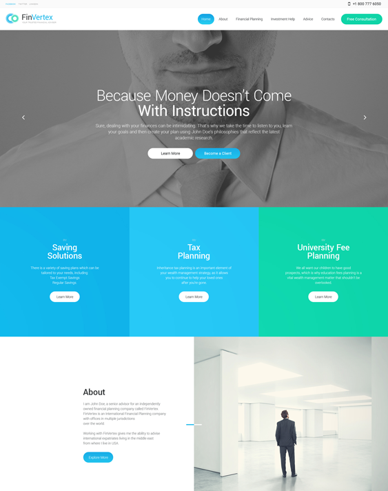 fin vertex financial wordpress themes
