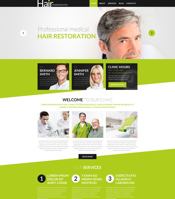hair transplantation medical wordpress themes