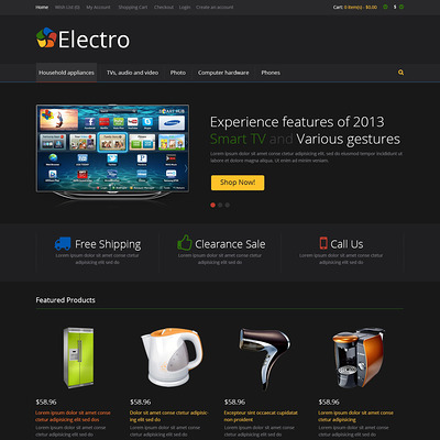 Black Electro Store OpenCart Template (OpenCart theme for electronics) Item Picture