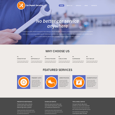 Car Repair WordPress Theme (WordPress theme for car, vehicle, and automotive websites) Item Picture