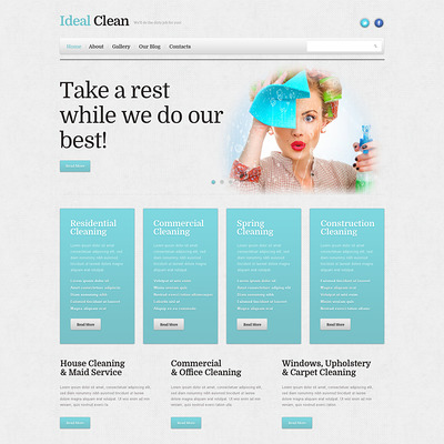 Cleaning Responsive WordPress Theme (WordPress theme for cleaning companies and maid services) Item Picture