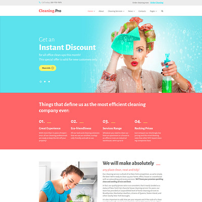 Cleaning & Maid Service Company WordPress Theme (WordPress theme for cleaning companies and maid services) Item Picture