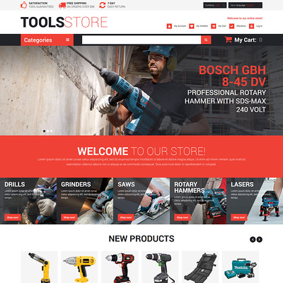 Contractor Tools Magento Theme (Magento theme for tool stores) Item Picture