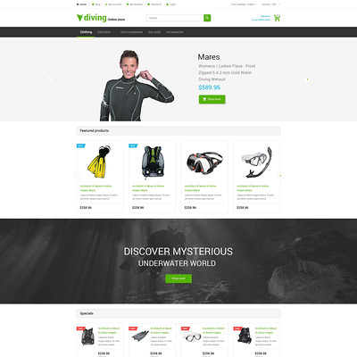 Deep Blue Dive Magento Theme (Magento theme for marine, yachting, and diving stores) Item Picture