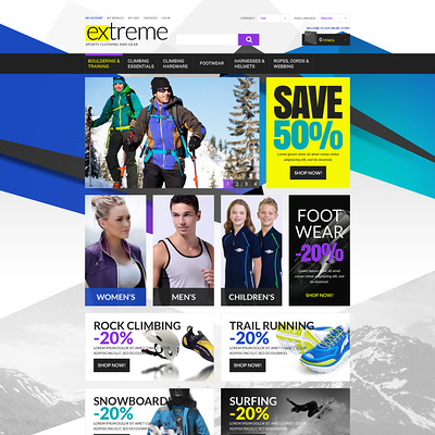 Extreme Sportswear Gear Magento Theme (Magento theme for sports stores) Item Picture