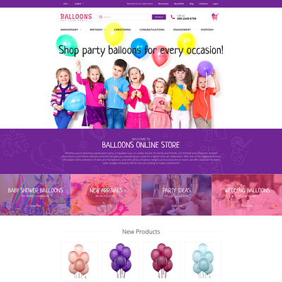 Festive Balloons Magento Theme (Magento theme for kids, babies, and children) Item Picture