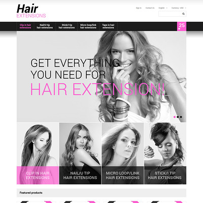 Long Hair PrestaShop Theme (PrestaShop theme for hair extensions and hair products) Item Picture