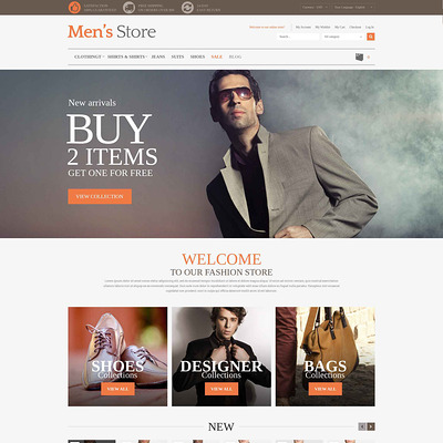 Men's Clothing Style Magento Theme (Magento theme for mens and womens clothing) Item Picture