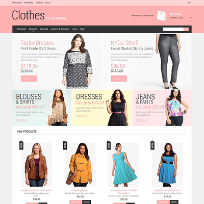 Plus Size Clothing Magento Theme (Magento theme for mens and womens clothing) Item Picture