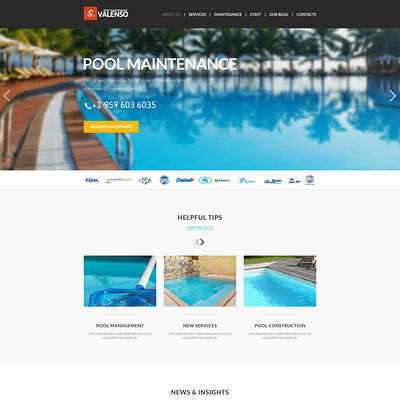 Pool Maintenance Joomla Template (Joomla template for cleaning companies and maid services) Item Picture