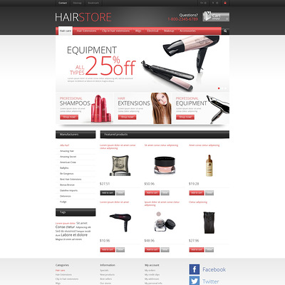 Responsive Hair Store PrestaShop Theme (PrestaShop theme for hair extensions and hair products) Item Picture
