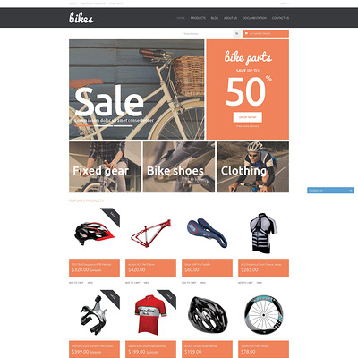 Shopping Bikes Accessories Shopify Theme (Shopify theme for sports stores) Item Picture