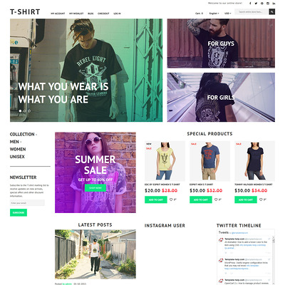 T-Shirt Magento Theme (Magento theme for mens and womens clothing) Item Picture