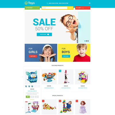 Toys Store Magento Theme (Magento theme for kids, babies, and children) Item Picture