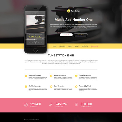 Tune Station WordPress Theme (WordPress theme for promoting apps) Item Picture