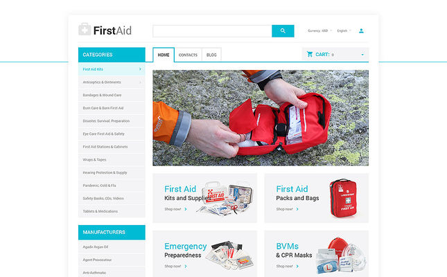 best opencart themes health medical stores feature