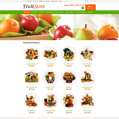 Fruit Gifts Store OpenCart Template (OpenCart theme for selling food and spices) Item Picture