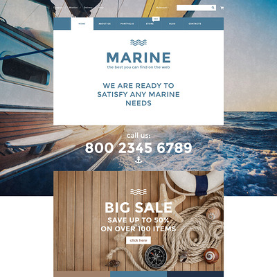 Marine WooCommerce Theme (WooCommerce theme for marine, yachting, diving, and fishing stores) Item Picture