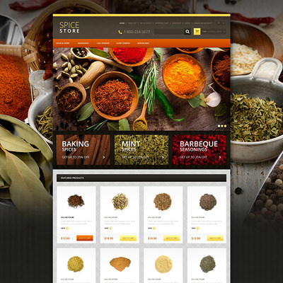 Responsive Spice Store OpenCart Template (OpenCart theme for selling food and spices) Item Picture