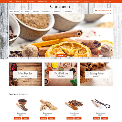 Spice Shop Responsive OpenCart Template (OpenCart theme for selling food and spices) Item Picture