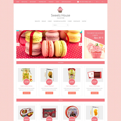 Sweet Shop Responsive OpenCart Template (OpenCart theme for selling food and spices) Item Picture