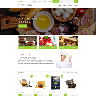 Tasty Dish OpenCart Template (OpenCart theme for selling food and spices) Item Picture