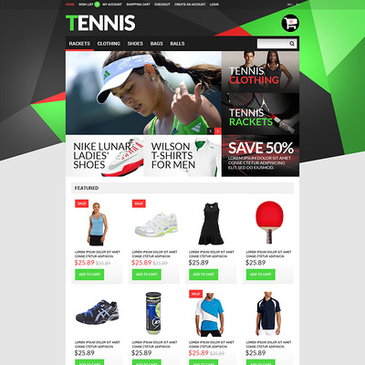 Tennis Accessories OpenCart Template (OpenCart theme for sports, gym, and fitness stores) Item Picture
