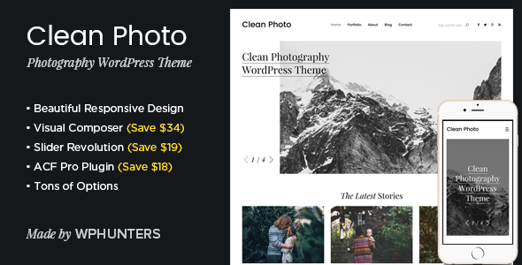 Clean Photo (WordPress theme for photographers) Item Picture