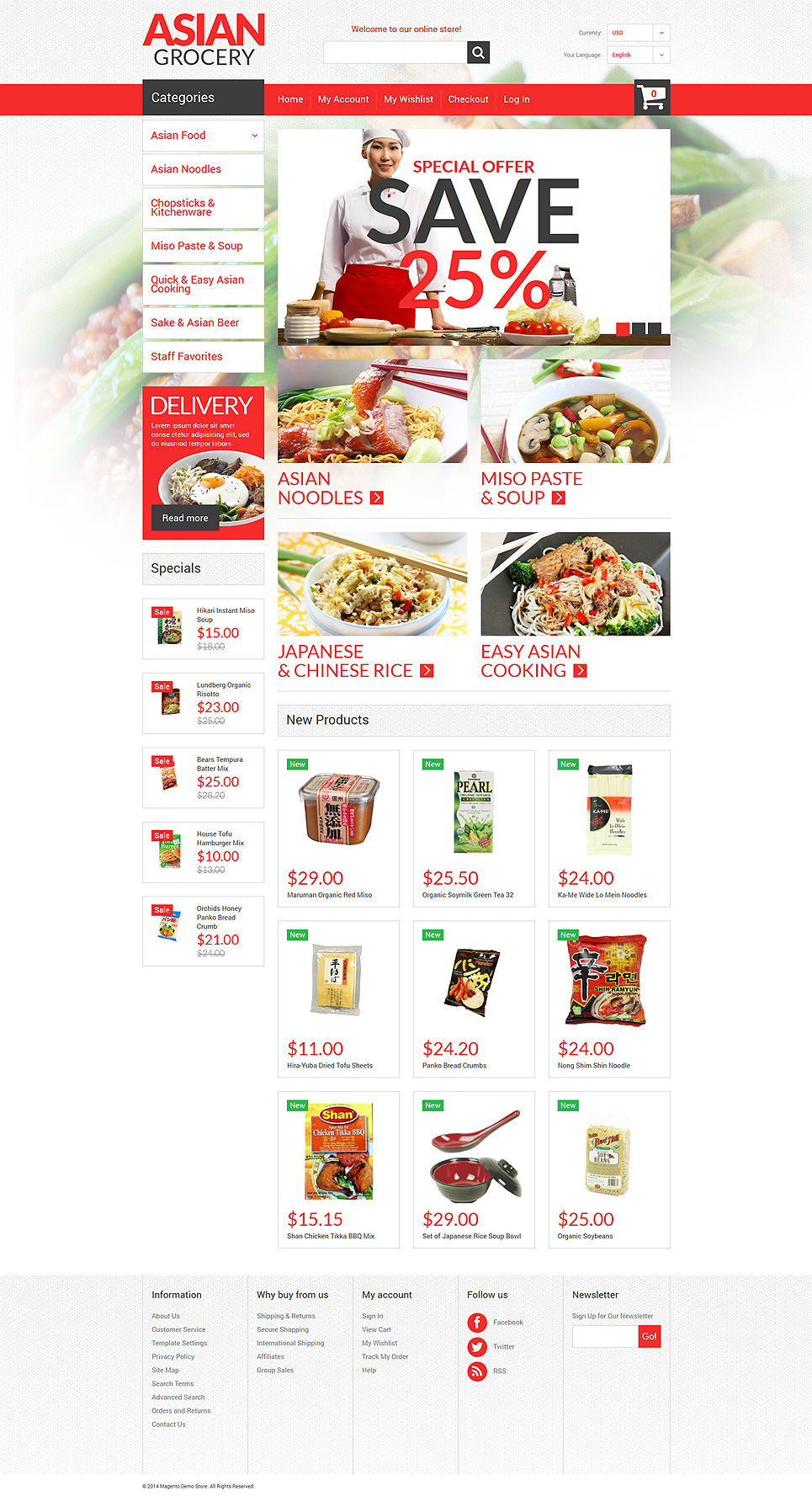 Asian Specialties Magento Theme (website template for ecommerce) Item Picture