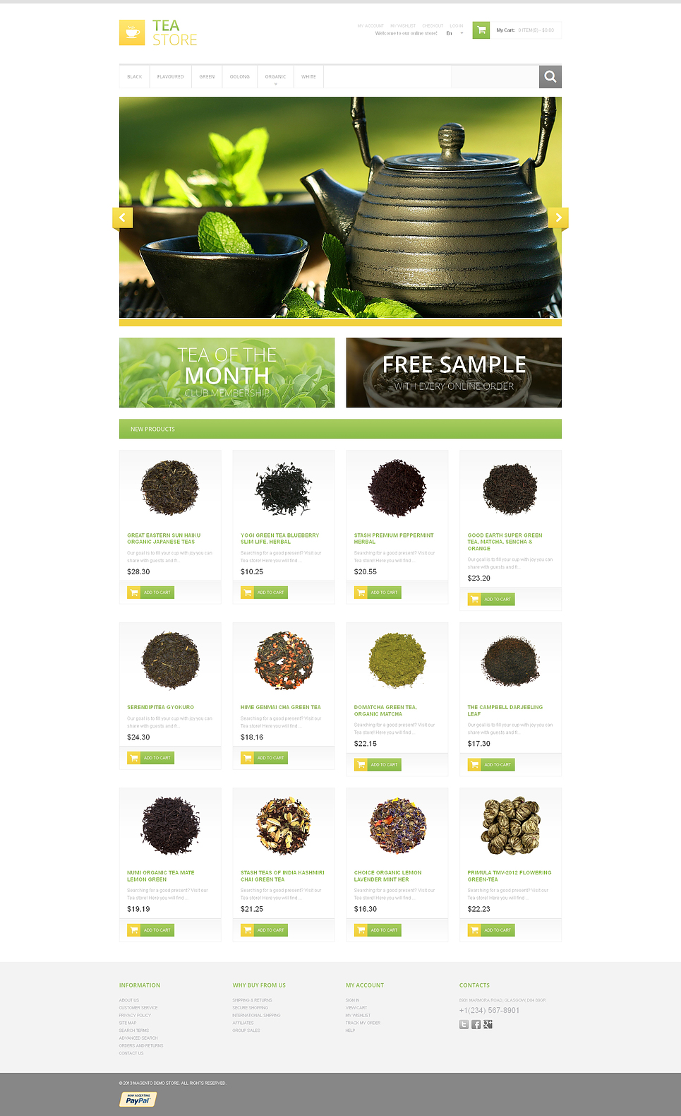 Bracing Tea Store Magento Theme (website template for ecommerce) Item Picture