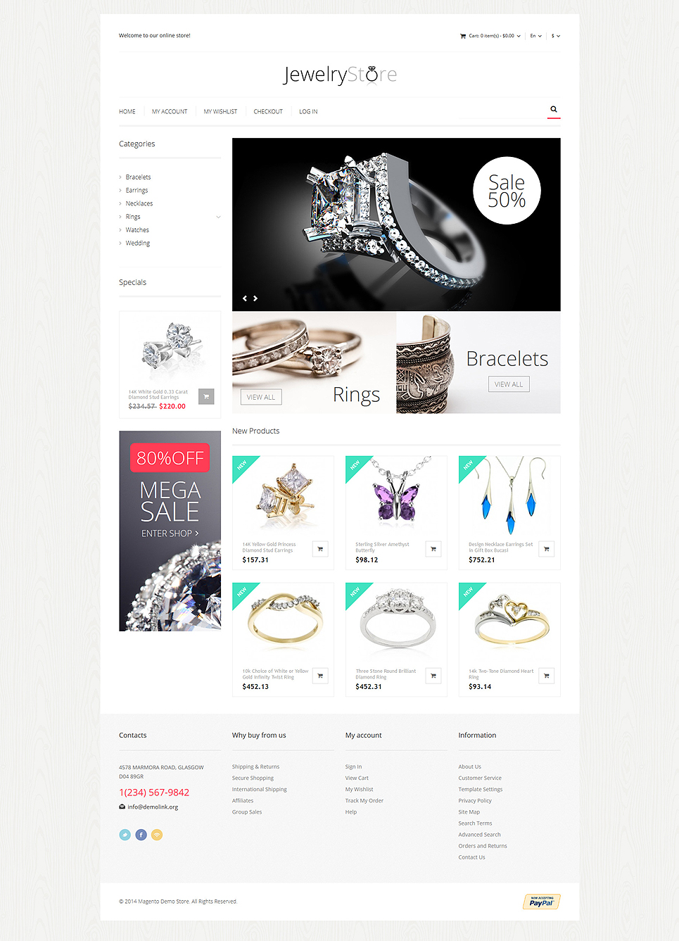Fine Jewelry Magento Theme (wedding industry website theme) Item Picture