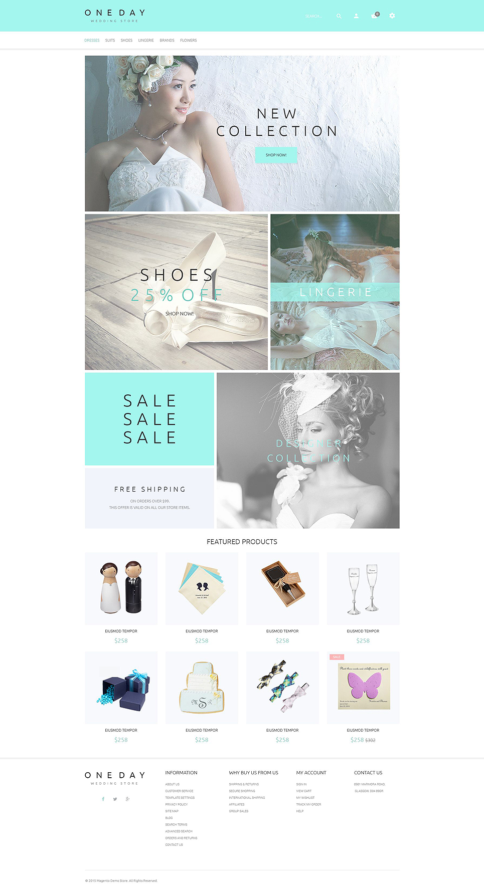 One Day Magento Theme (wedding industry website theme) Item Picture