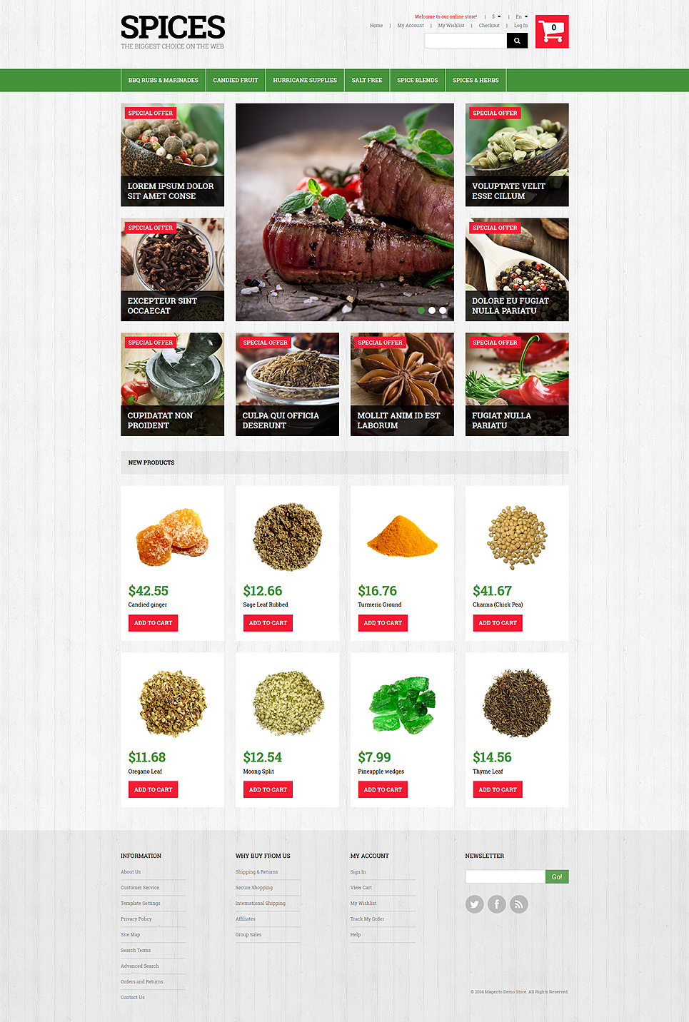 Spiced Dishes for Health Magento Theme (website template for ecommerce) Item Picture