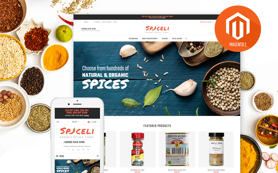 Spiceli Magento Theme (website template for ecommerce) Item Picture