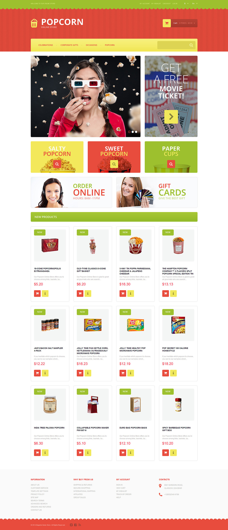 Tasty Popcorn Magento Theme (website template for ecommerce) Item Picture