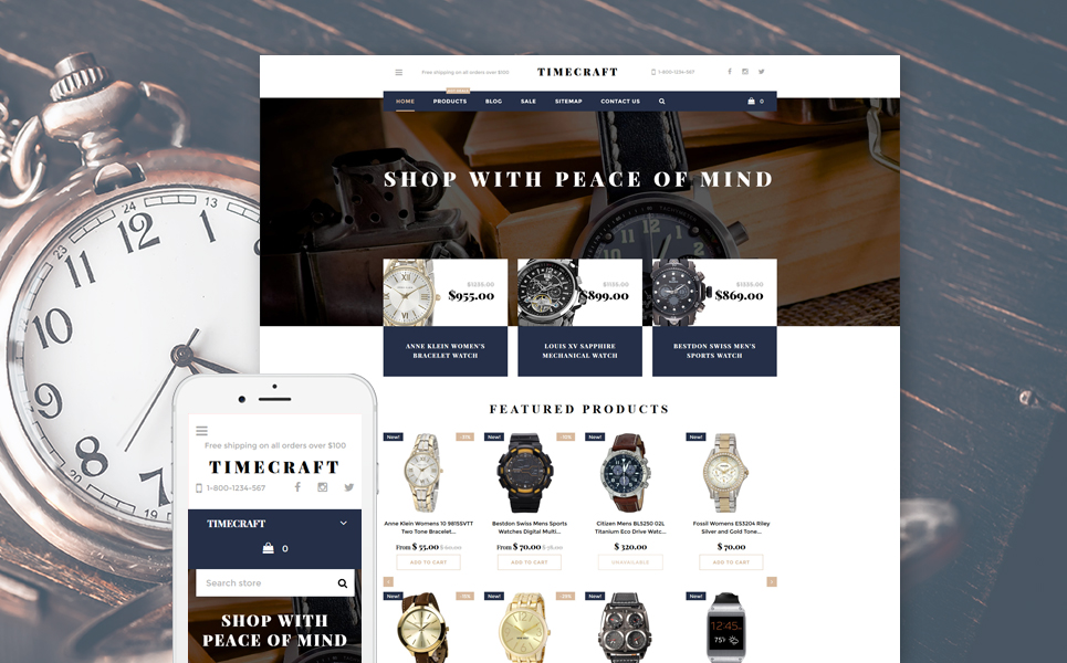Time Craft (website template for ecommerce) Item Picture