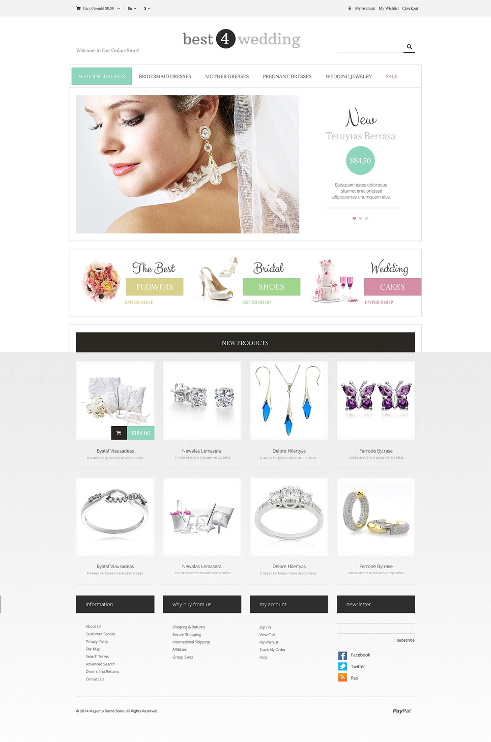 Wedding Shop Responsive Magento Theme (wedding industry website theme) Item Picture