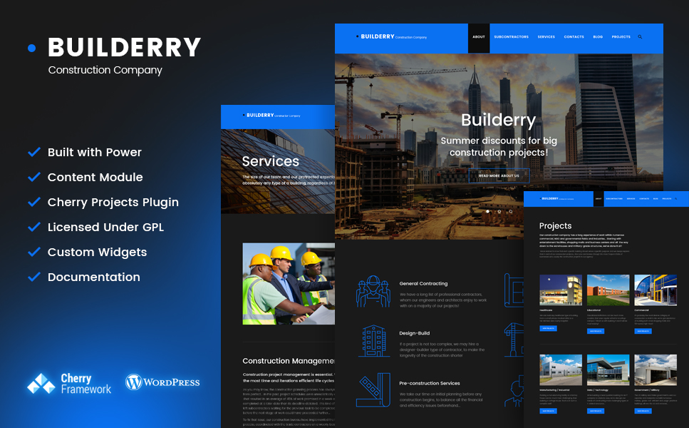 Builderry (WordPress theme for the construction industry) Item Picture