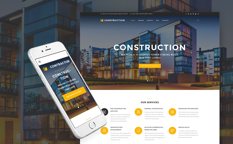 Contractor (WordPress theme for the construction industry) Item Picture