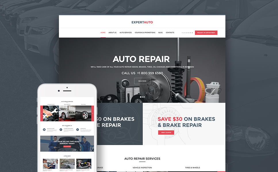 ExpertAuto (WordPress theme for auto repair shops) Item Picture