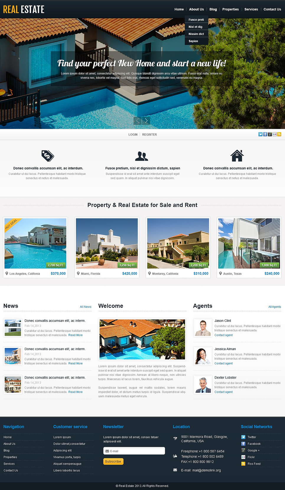 White Real Estate WordPress Theme