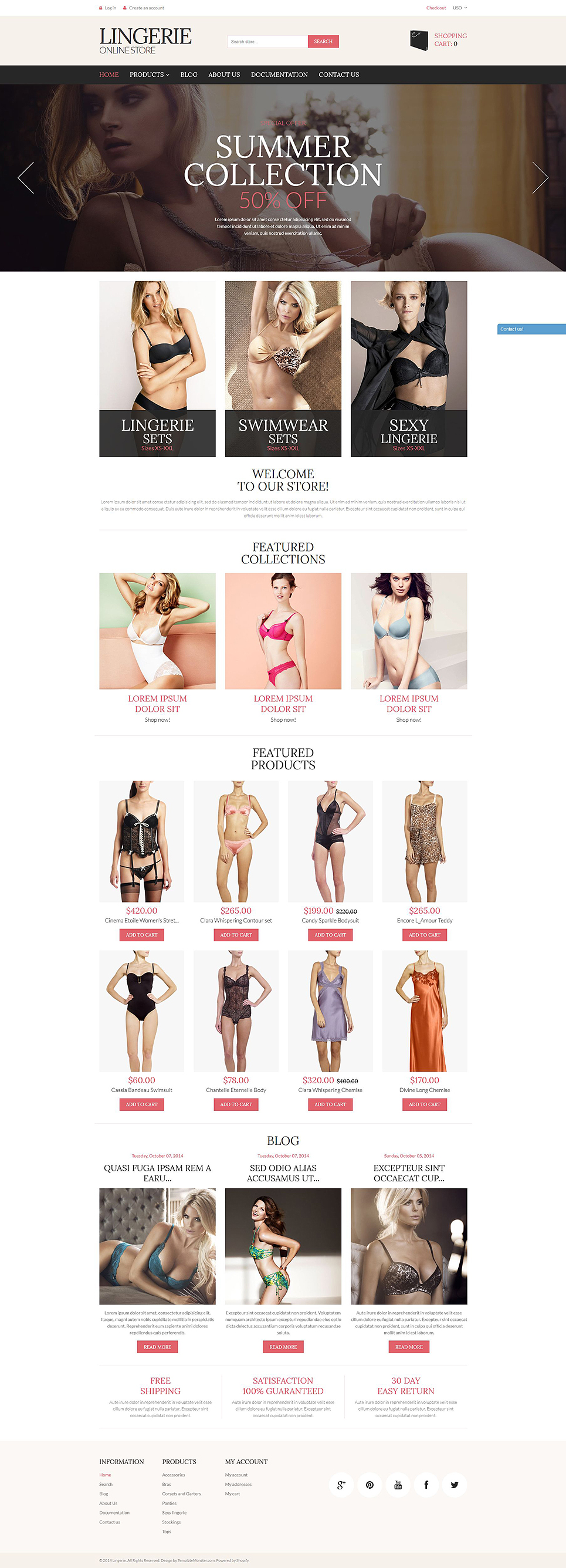 Lingerie Store (ecommerce Shopify theme) Item Picture