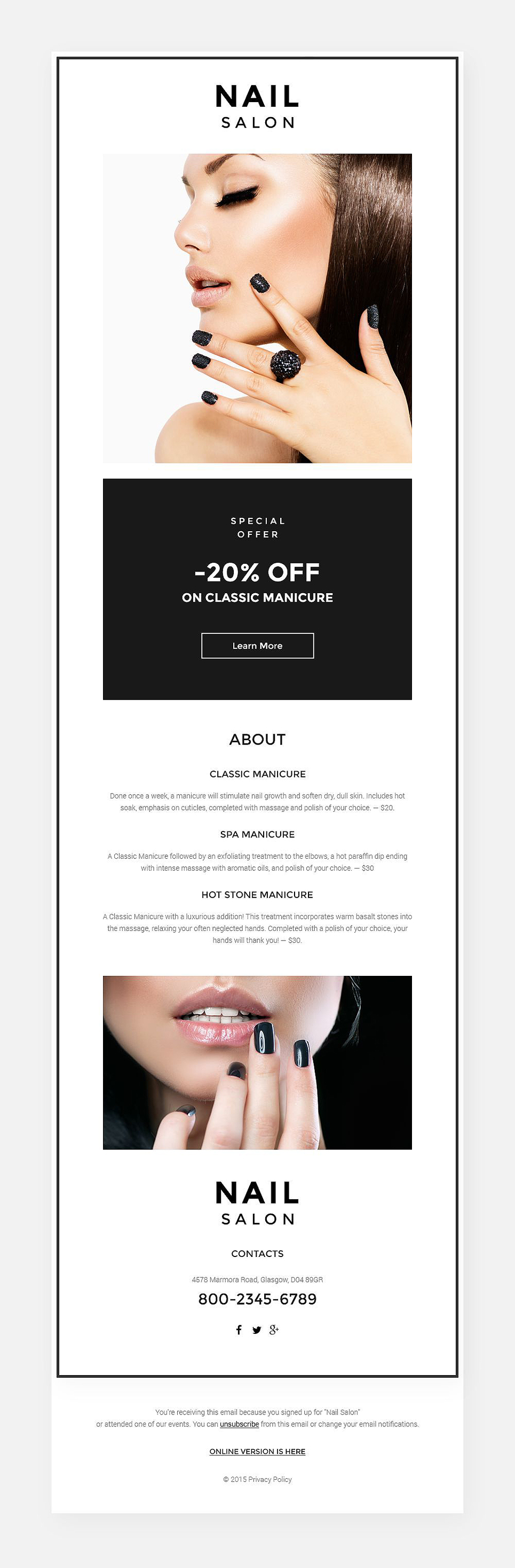 Nail Salon (responsive newsletter template) Item Picture