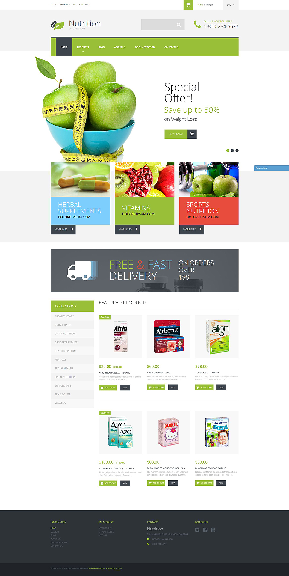 Nutrition Supplements (ecommerce website theme) Item Picture
