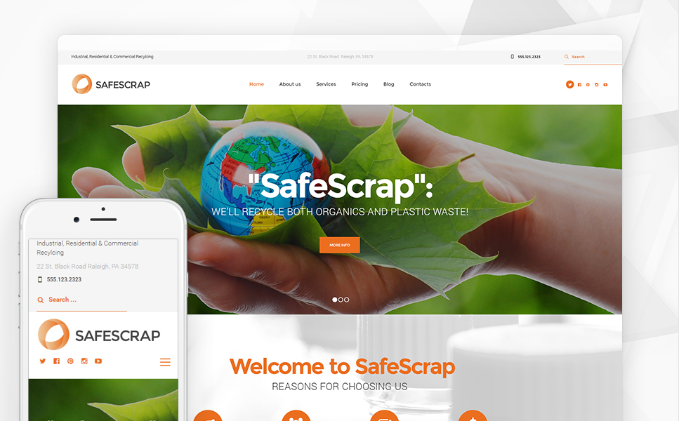 Recycling Services Environmental (WordPress template) Item Picture