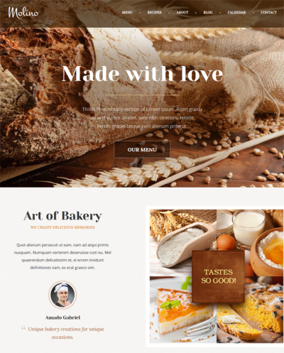 wordpress themes bakery cake shop feature