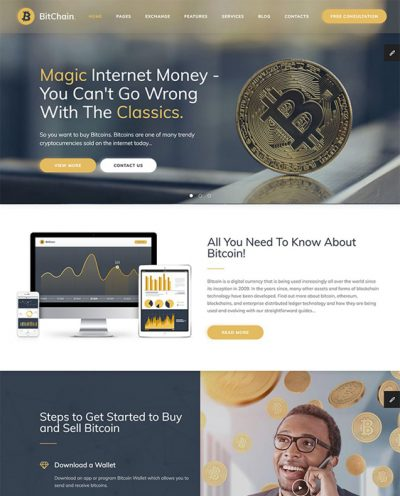 best bootstrap website templates bitcoin crypocurrency feature